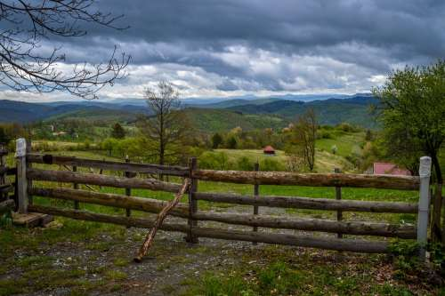 Serbia Tara Mountain Village Fence Clouds