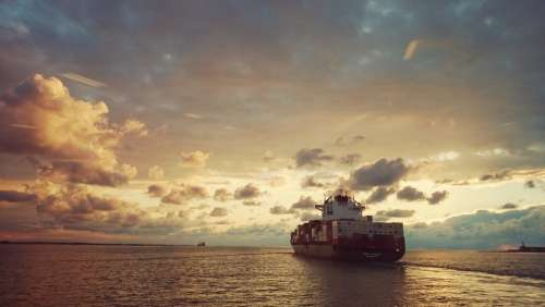Ship Sea Sunset Clouds Water Evening Sun Compass