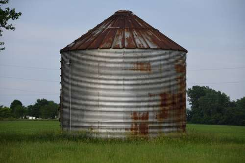 Silo Corn Crib Farm Countryside