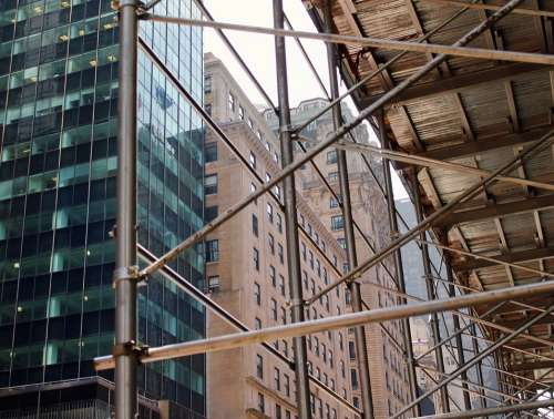 Skyscrapers Construction Building New York Nyc Ny