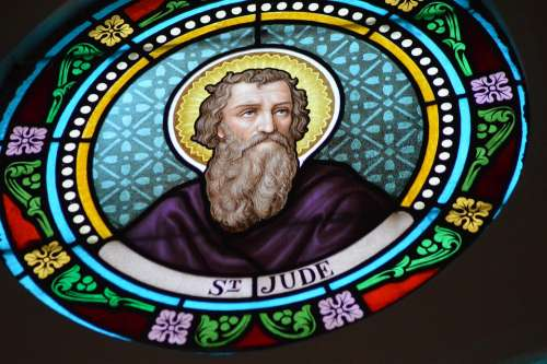Stained Glass Colorful Portrait Person Saint Jude