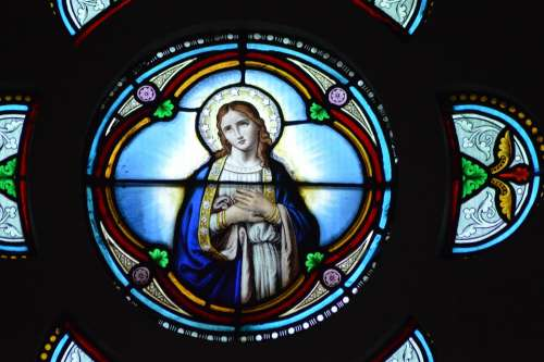 Stained Glass Colorful Mary Virgin Young Girl