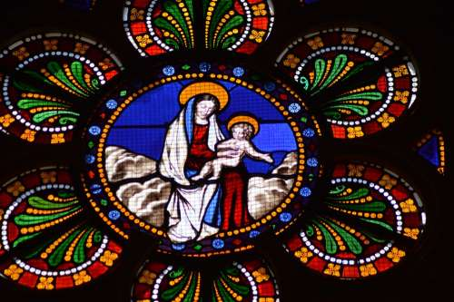 Stained Glass Colorful Woman Child Mary Jesus