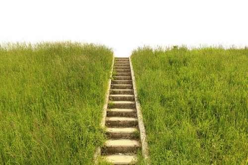 Stairs Grass Gradually Stage
