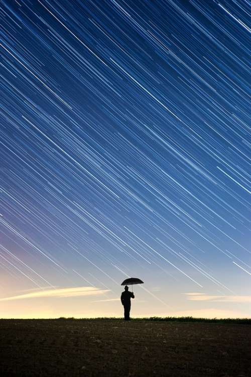Star Night Rain Human Umbrella Weather