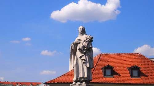 Statue Prague Charles Bridge Saint Vltava Czechia