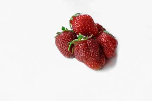 Strawberry White Background Wild Herbs Nature Red