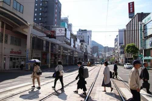 Street Pedestrians Road Tracks