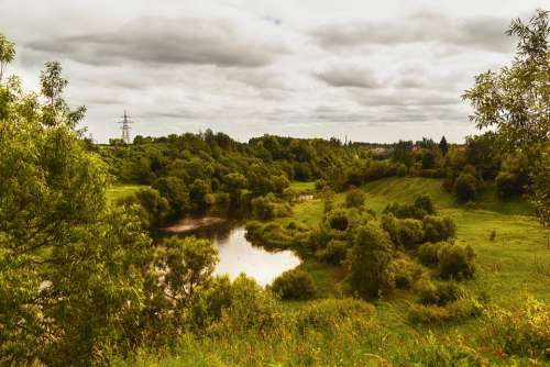 Summer River Landscape Nature Clouds Velikie Luki