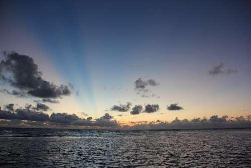 Sunrise Rays Light Cloud Nature Landscape Sun