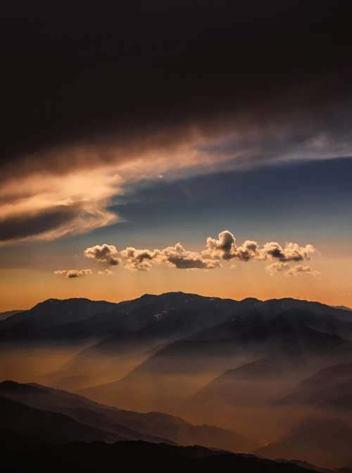 Sunset Weather Sky Clouds Landscape View