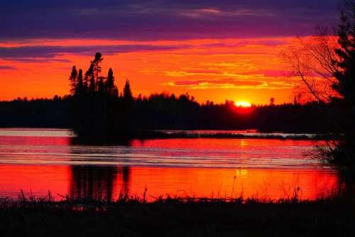 Sunset Nature Evening Twilight Water Trees Lake