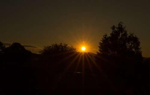 Sunset Dark Sunbeam Evening Abendstimmung Dusk