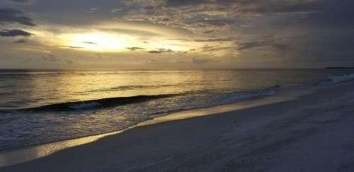 Sunset Beach Wave Sand Twilight Landscape Nature