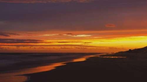 Sunset Beach Ocean Sea Water Sunrise Dusk Clouds