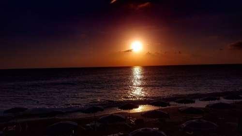 Sunset Sea Sun Dawn Italy Calabria