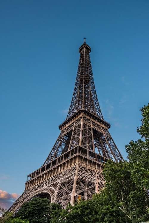 Sunset Tower Eiffel Sky Blue Metal Iron Height