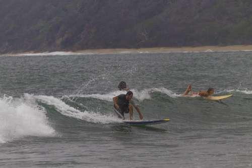 Surf Surfer Sea Wave Ocean Beach Summer Nature