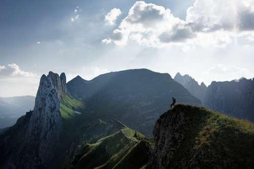 Switzerland Alpine Mountain Man Hike Sky Clouds