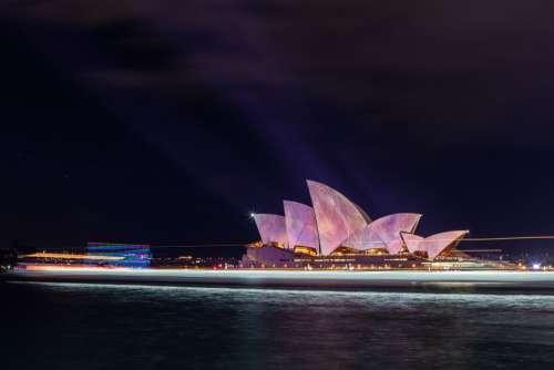 Sydney Opera House Illuminated Night Harbour
