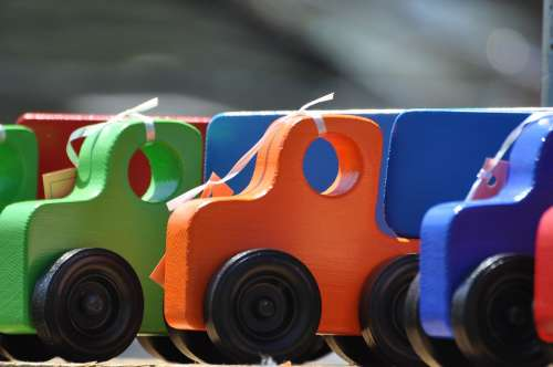 Toys Wooden Trucks Colorful Craft Bright Sandbox