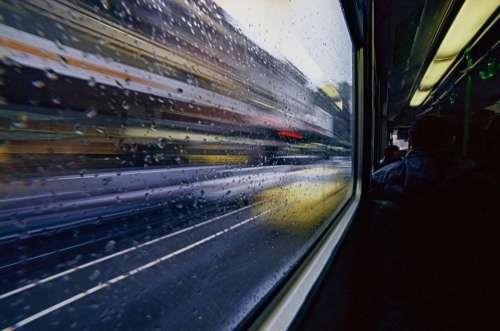 Transport Blurry Moving Tram Bus Urban Street