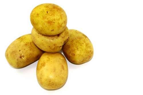 Vegetables Food White Background Potatoes Skinned
