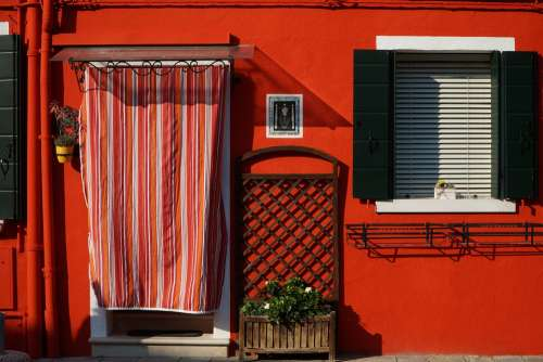 Venice Burano Red House Italy Colorful Building