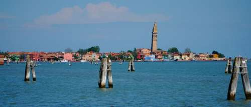 Venice Murano Tower Leaning Water Sky Blue Old