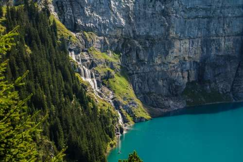 View Bergsee Waterfall Mountains Lake Water