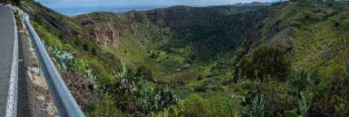 Volcano Gran Canaria Landscape Flora Spain Nature