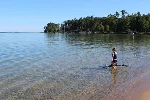Water Skiing Lake Michigan Woman Landscape