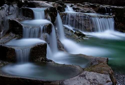 Waterfall Longexposure Volcanic Stream Spring