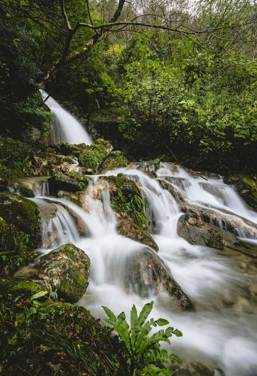 Waterfall River Water Nature Stream Landscape