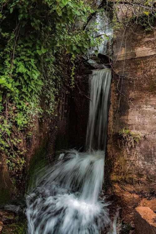 Waterfall Water Stream Nature Splash Scenery