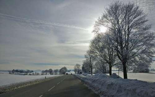 Winter Winter Scene Road Snow Sky Horizon Bavaria