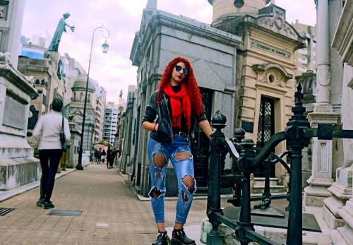 Women Cemetery Tourism Buenos Aires Red Gothic