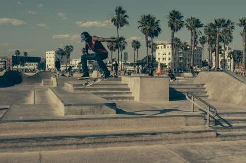 skater skateboard skate park steps railing