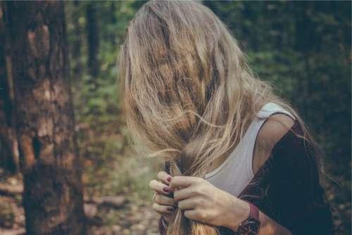blond girl woman long hair braid