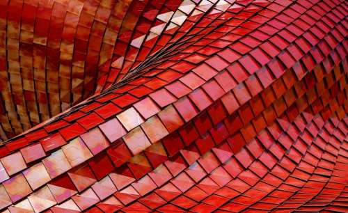 red steel rooftop architecture infrastructure