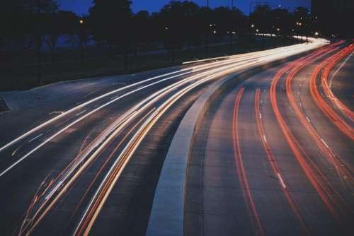 dark night road street highway