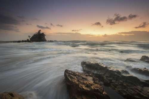 rocks ocean sea water beach