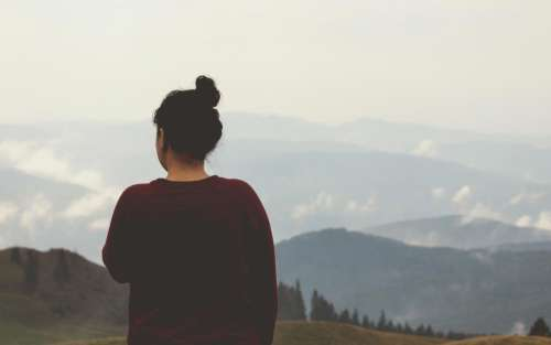 girl looking thinking landscape nature