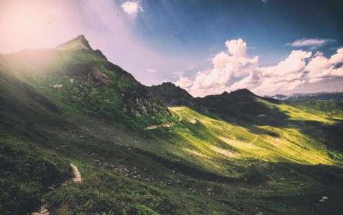 mountains valleys hills green grass