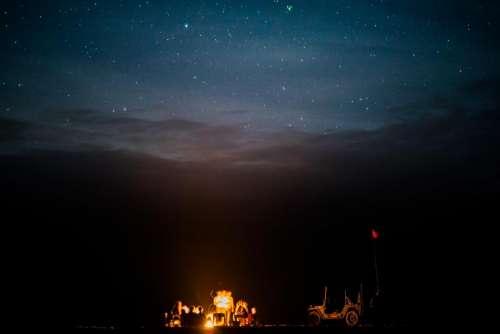 dark night campfire picnic flame