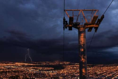 dark night city lights building