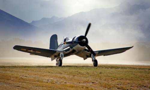 vintage plane flying corsair landing