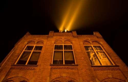 building architecture wall bricks spotlight