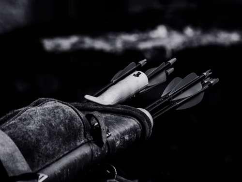 black and white monochrome bag leather arrow