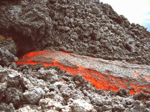 volcano magma fire heat rocks